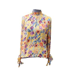Miss Lili High Neck Floral Sheer Top